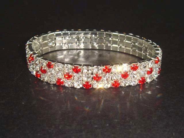 3 row Bridal Stretchy Rhinestone Bangle Bracelet BR13