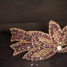 Purple applique bead Rhinestone tiara Headband HR110