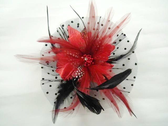 Bridal Feather Black silk flower Peacock pin clip BA141