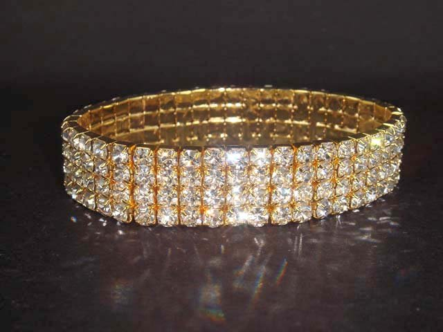 4 row Bridal Stretchy Rhinestone Bangle Bracelet BR54