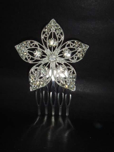 Bridal Crystal Rhinestone Flower Hair tiara Comb RB212