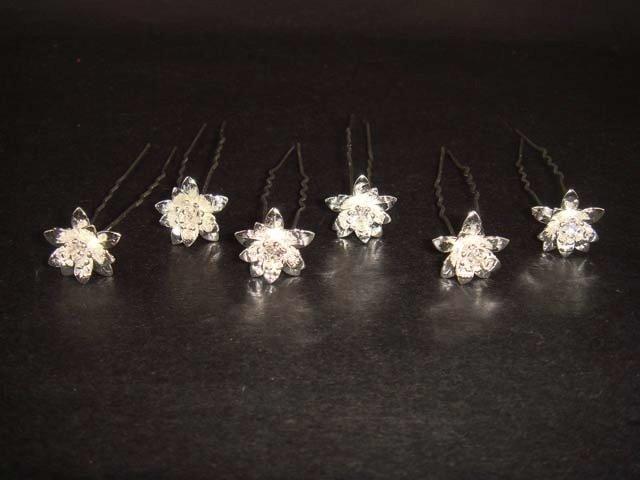 6 Bridal Flower Rhinestone Hairpin tiara Hair pin RP116