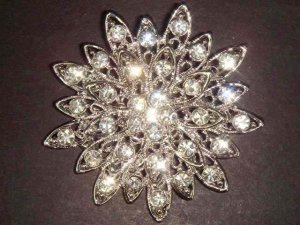 Bridal Vintage style Cake decoration topper Crystal Rhinestone Brooch pin PI06