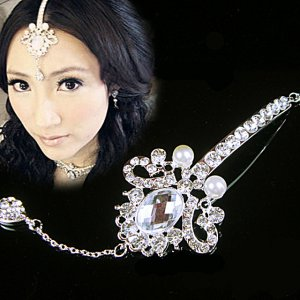 Bridal Crystal Faux Pearl  Rhinestone Belly dance dangle Bindi Headpiece HR163