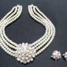 Bridal ivory Faux Pearl Rhinestone crystal Clip on earring necklace set NR281