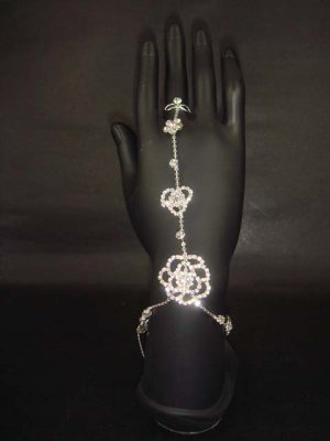 Sexy Rhinestone belly dance crystal Flower slave anklet with ring BR179