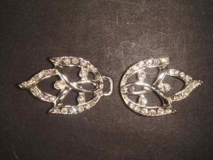 Bridal leave Rhinestone clasp hook buckle button BU43