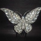 Bridal Rhinestone large crystal Butterfly Hair tiara Comb RB416