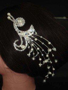BRIDAL FAUX PEARL PEACOCK HEADDRESS CLEAR RHINESTONE HAIR TIARA COMB BH63