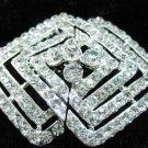 Vintage style Rhinestone crystal rhombus clasp dress buckle button BU60