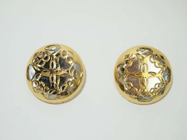 """1"""" 2 pc crystal repair Dress gold tone Rhinestone button BN30"""