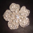 Bridal Rhinestone Flower crystal cake dress topper decoration Brooch pin PI363