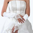 "13"" Bridal prom ivory Lace Satin bead Satin Fingerless Gloves S34"