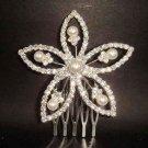 Bridal Faux Pearl crystal rhinestone hair tiara comb RB156