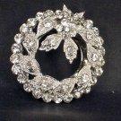 Bridal Prom Round circle flower wreath rhinestone crystal scarf clip BU71