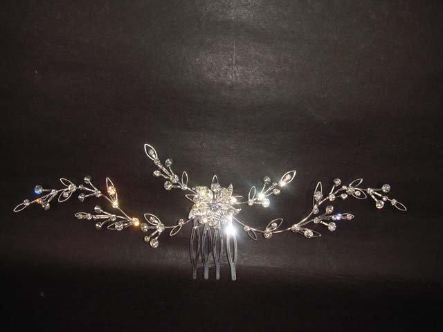 Bridal Crystal Flower Headpiece headdress Rhinestone Hair tiara Comb RB349