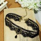 Gothic Lolita Lace ribbon Black Choker necklace NR227