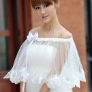 Bridal bow ribbon Shrug White Crochet BOLERO Shawl Stole Wrap Cape SF140