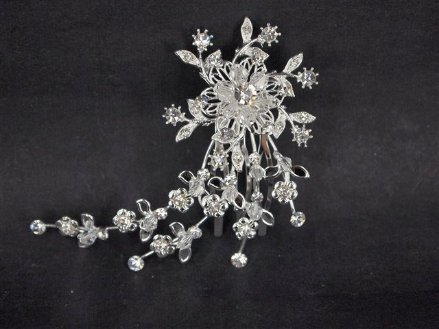 Bridal Crystal Flower Rhinestone Hair tiara Comb RB495