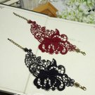 Gothic Lolita Crochet Vintage style Dark Blue Red bracelet -for thin hand BR205