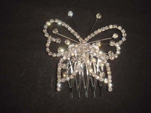 Bridal Rhinestone Butterfly gold tone Headpiece crystal Hair Tiara Comb RB531