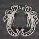 2 pcs Bridal Crystal Rhinestone Headpiece spiral Hair tiara Comb RB521