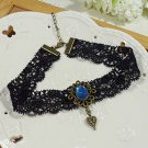Gothic Sexy Lolita Lace ribbon Black Blue Heart Choker necklace NR245
