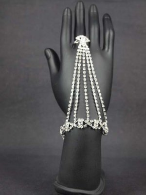 Sexy Rhinestone belly dance cuff slave crystal Bangle Bracelet with ring BR219