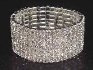 7 row Bridal Wedding Crystal Rhinestone Bangle Bracelet BR15