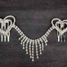 Bridal Rhinestone heart crystal Hair tiara Comb RB478