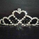 Bridal Rhinestone heart crystal hair tiara comb crown C41