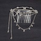 Bridal Rhinestone Crystal dangle Flower headpiece Hair tiara Comb RB508