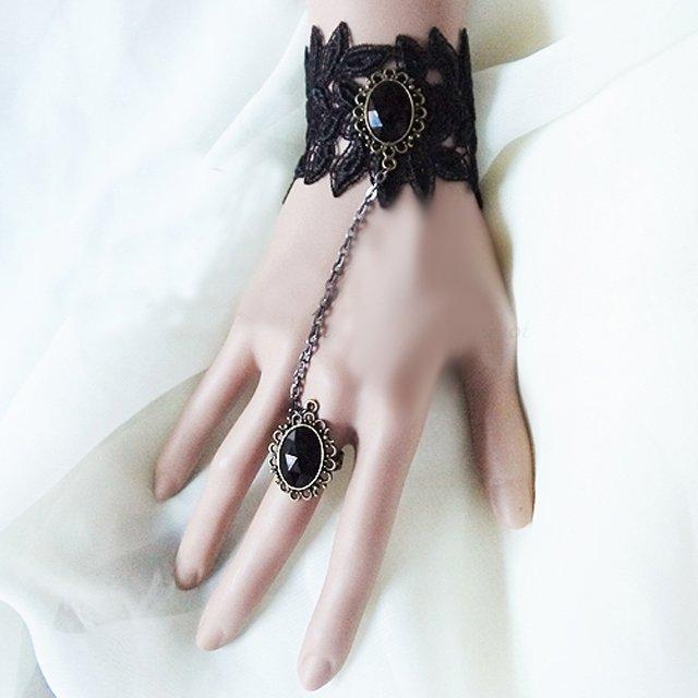 Sexy Belly dance Rhinestone Leave Black Lace gothic slave Bracelet BR244