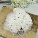 Bridal White Feather Headpiece Hair Silk Flower Fascinator Brooch clip BA163