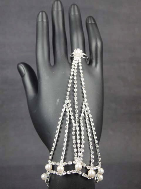 Bridal Sexy Faux peral Rhinestone Belly Dance slave Bracelet with ring BR230