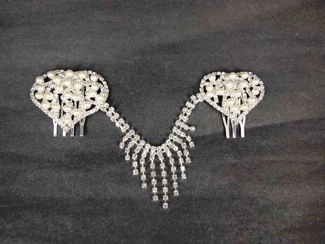 Bridal Faux Pearl Rhinestone Headdress Headpiece Heart Hair tiara Comb RB474