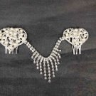 Bridal Faux Pearl Rhinestone Headdress Headpiece Heart Hair tiara Comb RB474