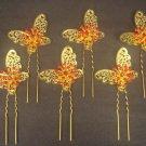 6 pcs Bridal crystal Rhinestone gold tone Butterfly Hair pin tiara hairpin RP174