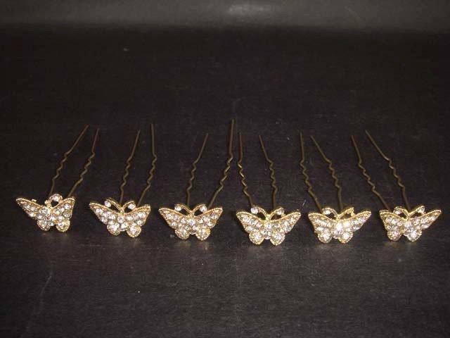 6 Bridal Butterfly rhinestone gold tone tiara headpiece hair pin BH185