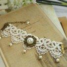 Gothic Lolita Crochet Vintage style faux pearl bracelet BR204