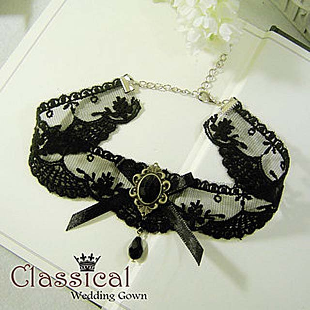 Gothic Lolita Lace ribbon Black Choker necklace NR222