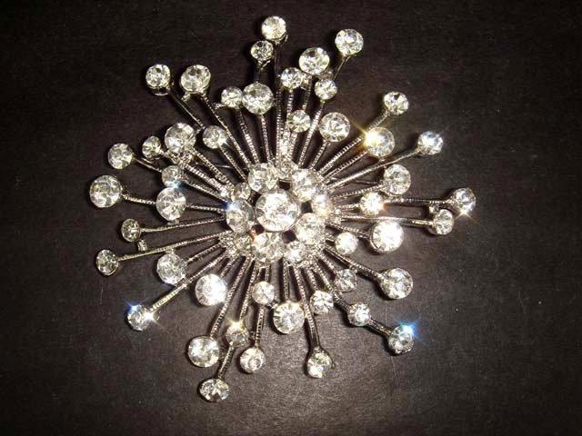 Bridal Crystal cake decoration firework Rhinestone Brooch pin PI216