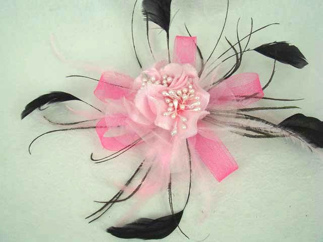 Bridal Red White Pink Purple Feather Fascinator hair flower brooch clip BA111