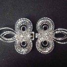 Vintage style dress crystal Rhinestone clasp hook button BU23