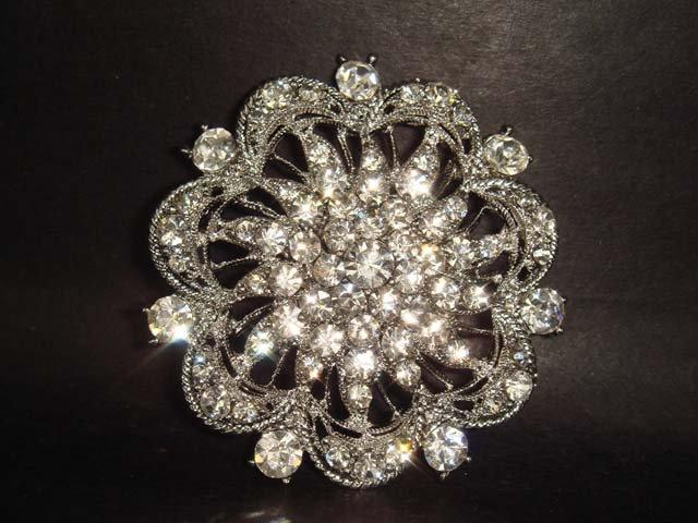 Bridal Crystal bling cake topper Rhinestone Brooch pin PI145