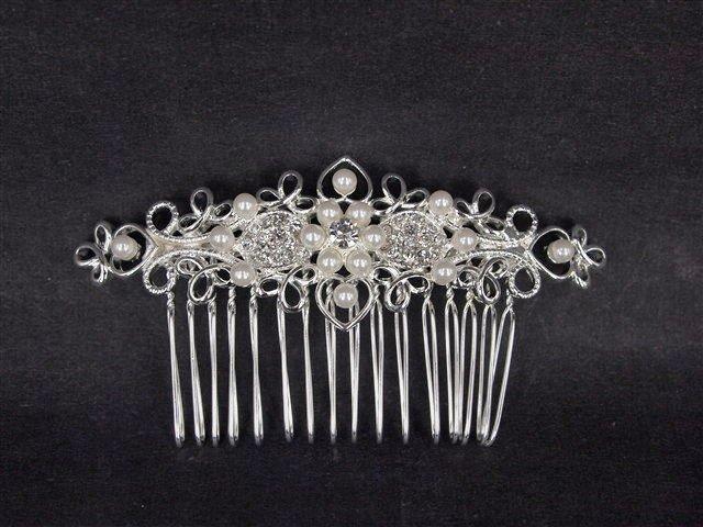 Bridal Rhinestone Faux Pearl Headpiece crystal Hair tiara crown Comb RB496