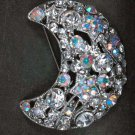 Bridal Rhinestone moon AB crystal scarf cake dress decoration Brooch pin PI551