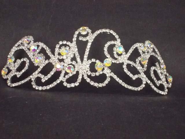 Bridal Rhinestone AB crystal Bow topknot headpiece Hair headdress Tiara HR176