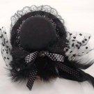 Bridal Feather Black lace ribbon dot bow hair Fascinator Mini Hat clip BA164