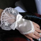 Bridal Crochet Bow ivory Lace Satin Crochet Fingerless Gloves S02